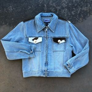 Custom Cow Hair Denim Jacket w/ Silver Buttons